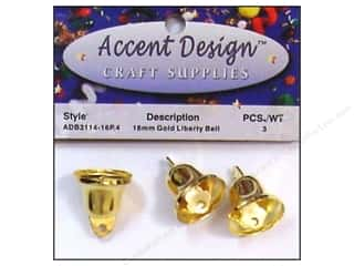 Wedding $3 - $4: Accent Design Liberty Bell 16 mm 3 pc Gold (3 packages)