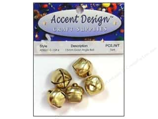 Accent Design Jingle Bell 15mm 5pc Gold (3 packages)