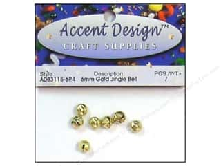 Metal $4 - $6: Jingle Bells by Accent Design 1/4 in. 7 pc. Gold (3 packages)