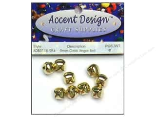 Accent Design Jingle Bell 9mm 9pc Gold (3 packages)