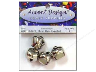 Accent Design Jingle Bell 18mm 4pc Silver (3 packages)