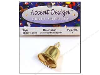 Accent Design Liberty Bell 25 mm 1 pc Gold (3 packages)