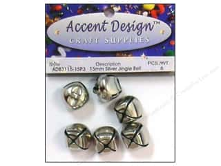 Accent Design Jingle Bell 15mm 6pc Silver (3 packages)