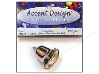 Wedding Basic Components: Accent Design Liberty Bell 25 mm 1 pc Silver (3 packages)