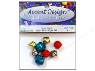 Accent Design Jingle Bell 9mm 8pc Multi (3 packages)