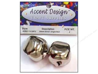 Accent Design Jingle Bell 30mm 2pc Silver (3 packages)