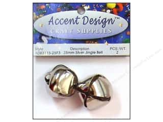 Accent Design Jingle Bell 25mm 2pc Silver (3 packages)