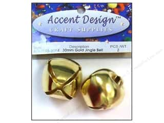 Accent Design Jingle Bell 30mm 2pc Gold (3 packages)