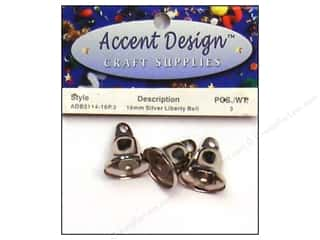 Wedding Basic Components: Accent Design Liberty Bell 16 mm 3 pc  Silver (3 packages)