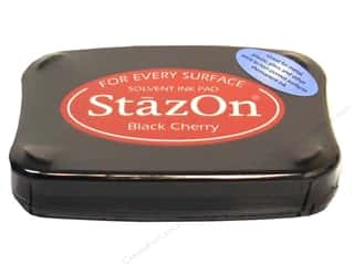 Tsukineko StazOn Solvent Stamp Pad Lg Blk Cherry