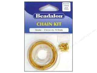 Beadalon Cap Findings/Spacer Findings: Beadalon Chain Kit Snake 1.5 mm Gold 6.5 ft.