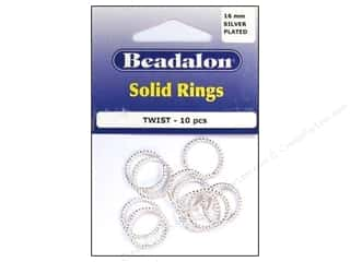 Clearance Blumenthal Favorite Findings: Beadalon Solid Rings Twist 16 mm Silver 10 pc.