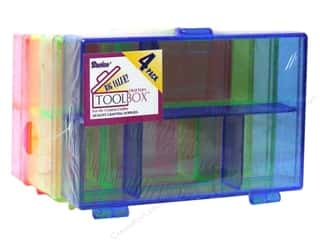 "Boxes and Organizers Blue: Darice Crafter's Tool Box Storage Neon 4.5""x 3""x 1"" 4 pc"
