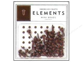 American Crafts Elements Brads Mini Chestnut 50pc