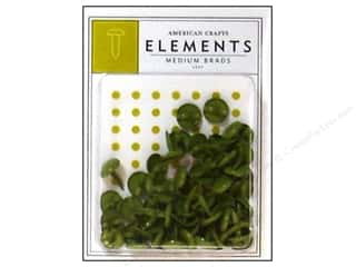 American Crafts Elements Brads Medium Leaf 50pc