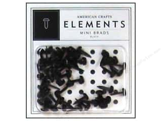 American Crafts Elements Brads Mini Black 50pc