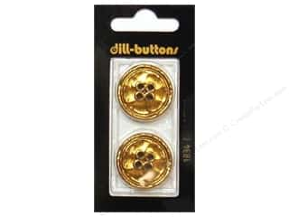 Borders mm: Dill 4 Hole Buttons 1 in. Gold Metal #1834 2pc.