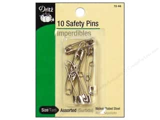 Safety pins: Dritz Safety Pins Assorted Nickel 10pc