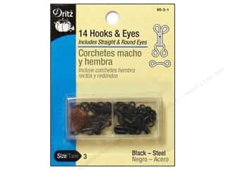 Hooks and Eyes by Dritz Size 3 Black 14pc.