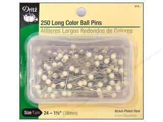 "Dritz Pins Long Color Ball Size 24 1.5"" 250pc"