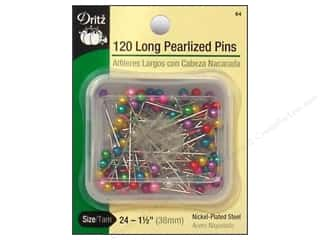 "straight pins: Dritz Pins Long Pearlized Sz 24 1.5"" Multi 120pc"