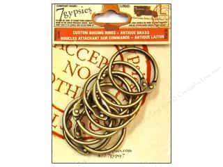 7 Gypsies Metal Rings: 7 Gypsies Binding Rings 1 1/2 in. Antique Brass 10 pc.