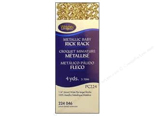 wrights rick rack 2.5 yards: Wrights Baby Rick Rack 4 yd. Metallic Gold