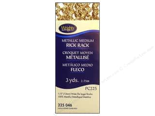 rick rack: Wrights Rick Rack Medium 2 1/2 yd. Metallic Gold