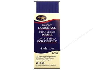 Tapes Blue: Wrights Double Fold Bias Tape 4 yd. Navy