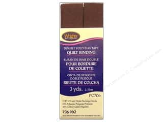 Tapes Wrights Double Fold Quilt Binding: Wrights Double Fold Quilt Binding 3 yd. Seal Brown