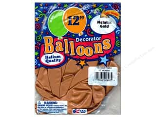 "PNL Balloons Blue Bird Deco 12"" Metallic Gold 12pc"