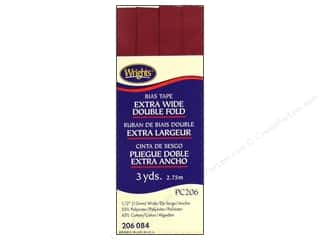 Wrights Extra Wide Double Fold Bias Tape Berry 3 yd.