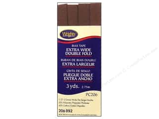 Wrights Extra Wide Double Fold Bias Tape Seal Brown 3 yd.