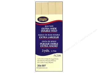 Wrights Extra Wide Double Fold Bias Tape Khaki 3 yd.
