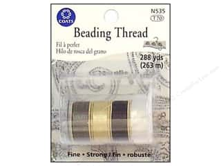 C&C Beading Thread Tube 288yd Wht/Black/Tan/Smoke