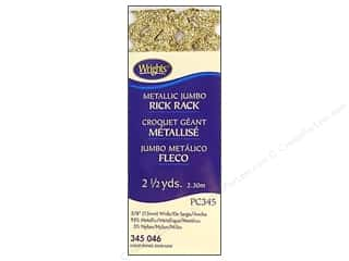 metallic rick rack: Wrights Jumbo Rick Rack 2 1/2 yd. Metallic Gold