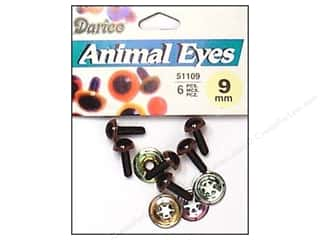 Darice Eyes Animal 9mm w/Washer Brown 6pc