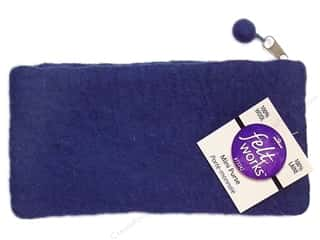 Fabric Bags / Purses: Dimensions 100% Wool Blanks FW Mini Purse Mid Blue