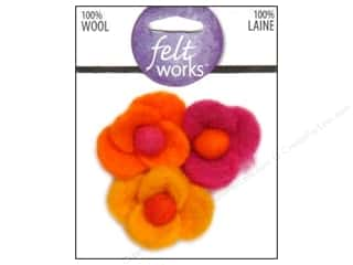 Flowers / Blossoms Felting: Dimensions Feltworks 100% Wool Felt Embellishment Four-Petal Flowers