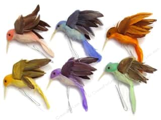 Decorative Floral Critters & Accessories Captions: Accent Design Artificial Bird 3 in. Hummingbird Assorted Pastel Feather 1 pc.