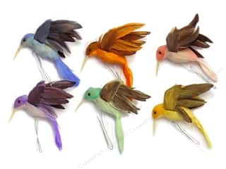 "Accent Design - Garden Accents 36"": Accent Design Artificial Bird 2 in. Hummingbird Asst Color Feather 1 pc."