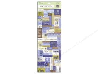 phrase stickers: K&Co Sticker Embossed Blue Awning Words & Phrases