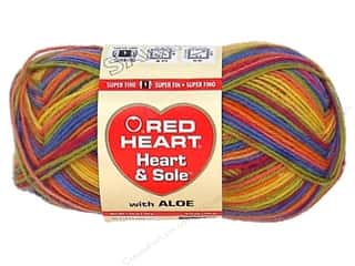striping yarn: Red Heart Heart & Sole Yarn #3955 Mellow Stripe 213 yd.