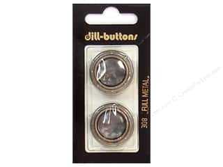 button: Dill Shank Buttons 1 in. Grey/Silver Metal #308 2pc.