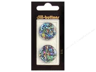 button: Dill 2 Hole Buttons 7/8 in. Black/Confetti #444 2pc.