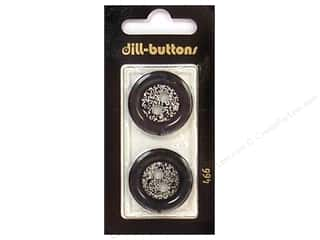 button: Dill 2 Hole Buttons 1 in. Black/Silver #466 2pc.