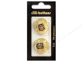 Gold Crest: Dill Buttons 7/8 in. Enamel Black/Gold #548 2pc.