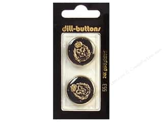 Gold Crest: Dill Shank Buttons 7/8 in. Enamel Black/Gold #553 2pc.