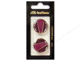 Dill Buttons 23mm Shank Enamel Wine Red/Gold 2 pc