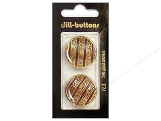 Dill Buttons 25mm Shank Enamel Wine Red/Gold 2 pc